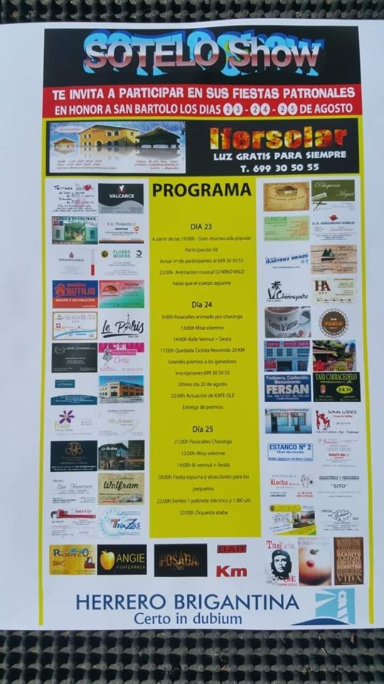Grandes Fiestas en Sotelo en honor a San Bartolo 23 al 25 de agosto 2019 2