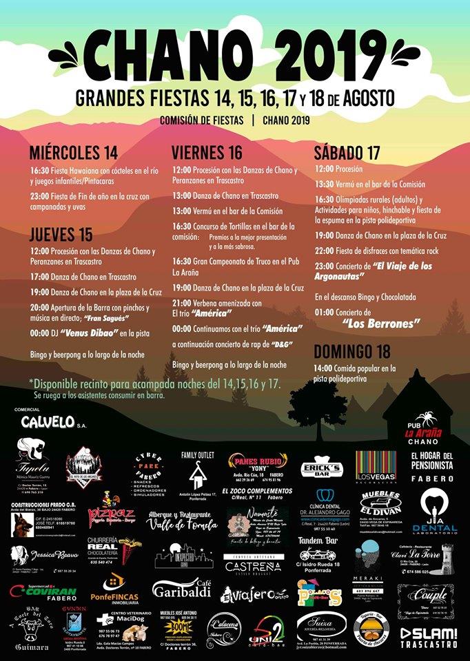 Grandes Fiestas en Chano. 14 al 18 de agosto 2019 2