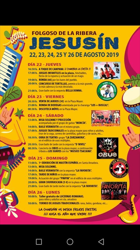 Fiestas en Folgoso de la RIbera. 22 al 26 de agosto 2019 2