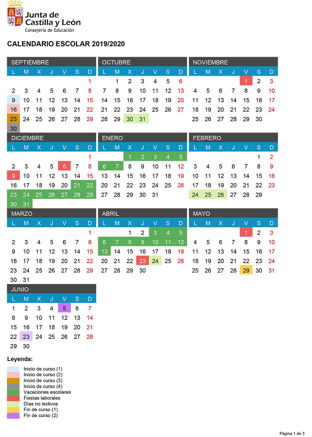 Así queda el Calendario Escolar 2019-2020 en Ponferrada y el Bierzo 2