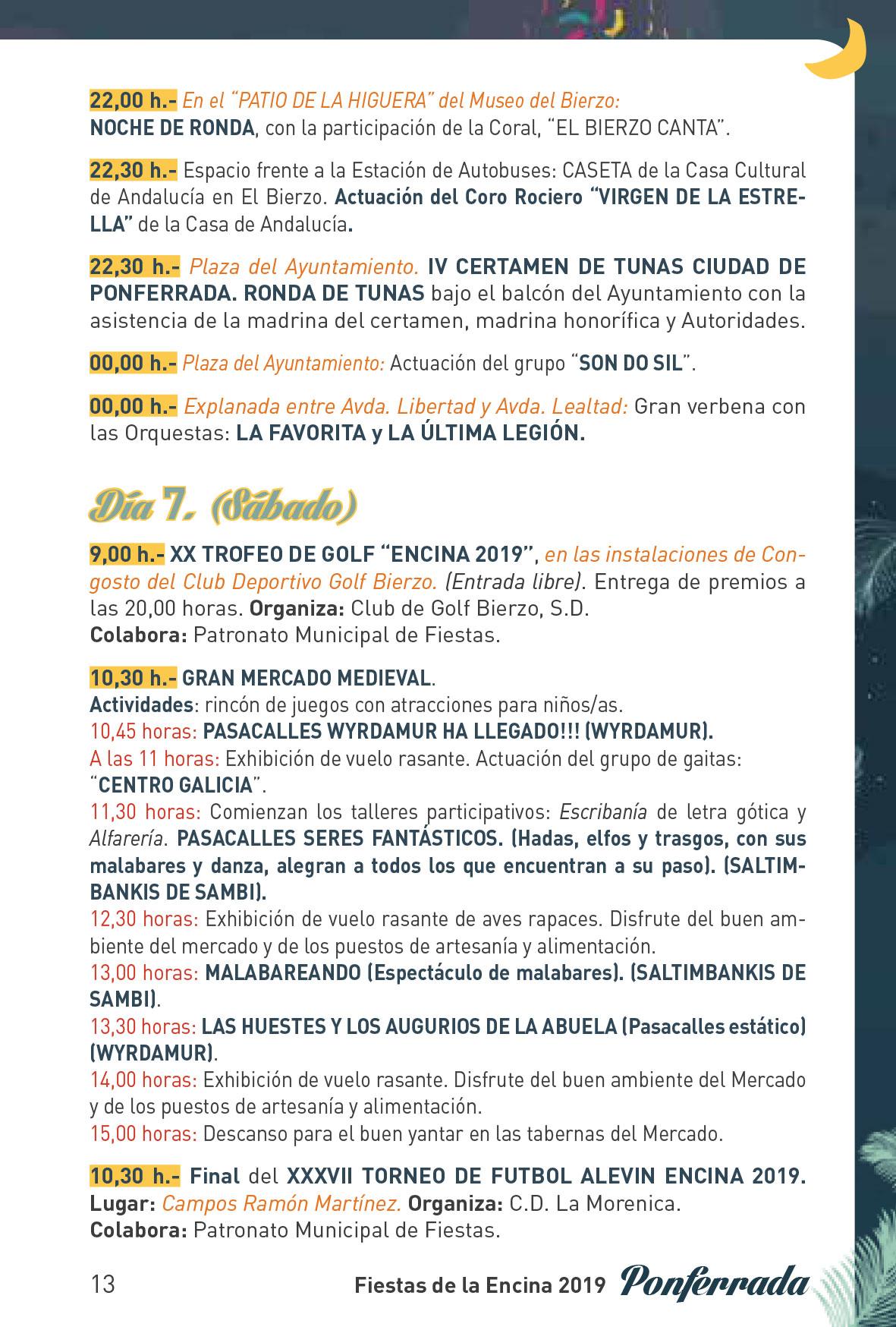 Fiestas de la Encina 2019. Programa y actividades 13