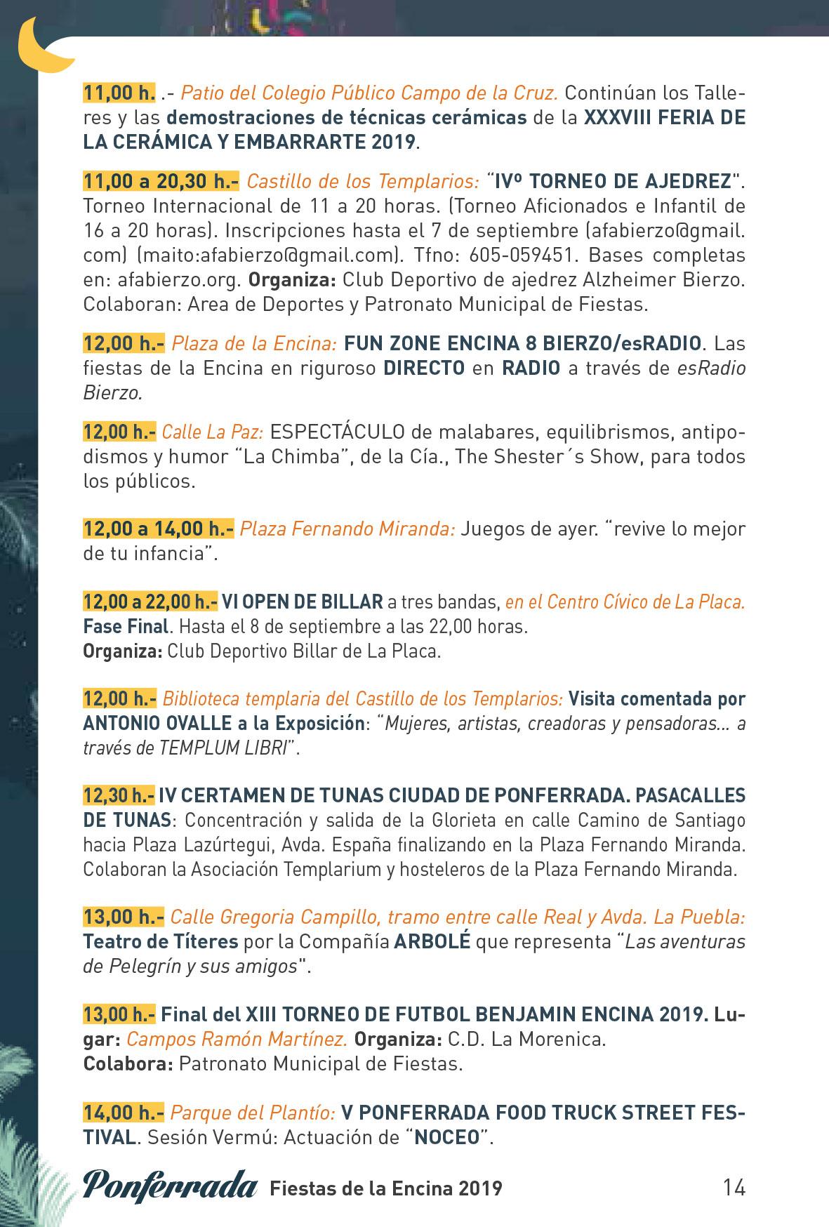 Fiestas de la Encina 2019. Programa y actividades 14