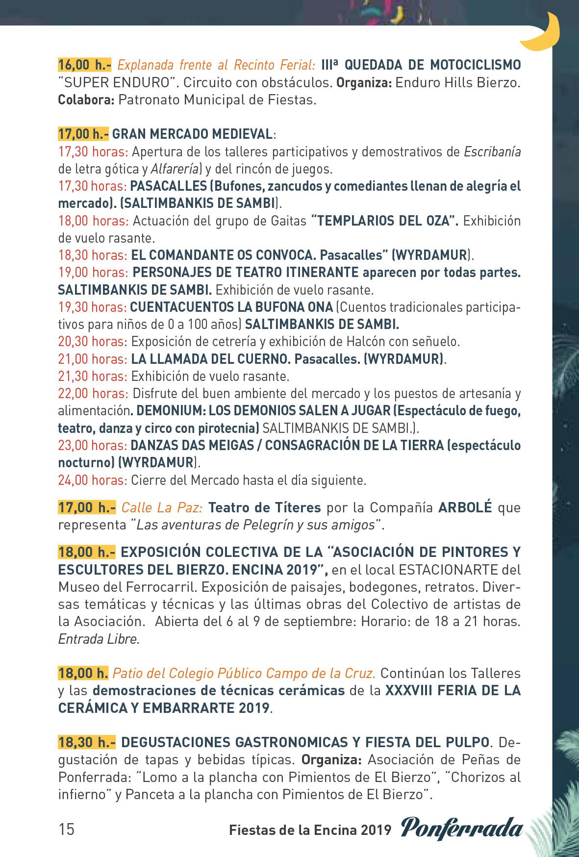 Fiestas de la Encina 2019. Programa y actividades 15