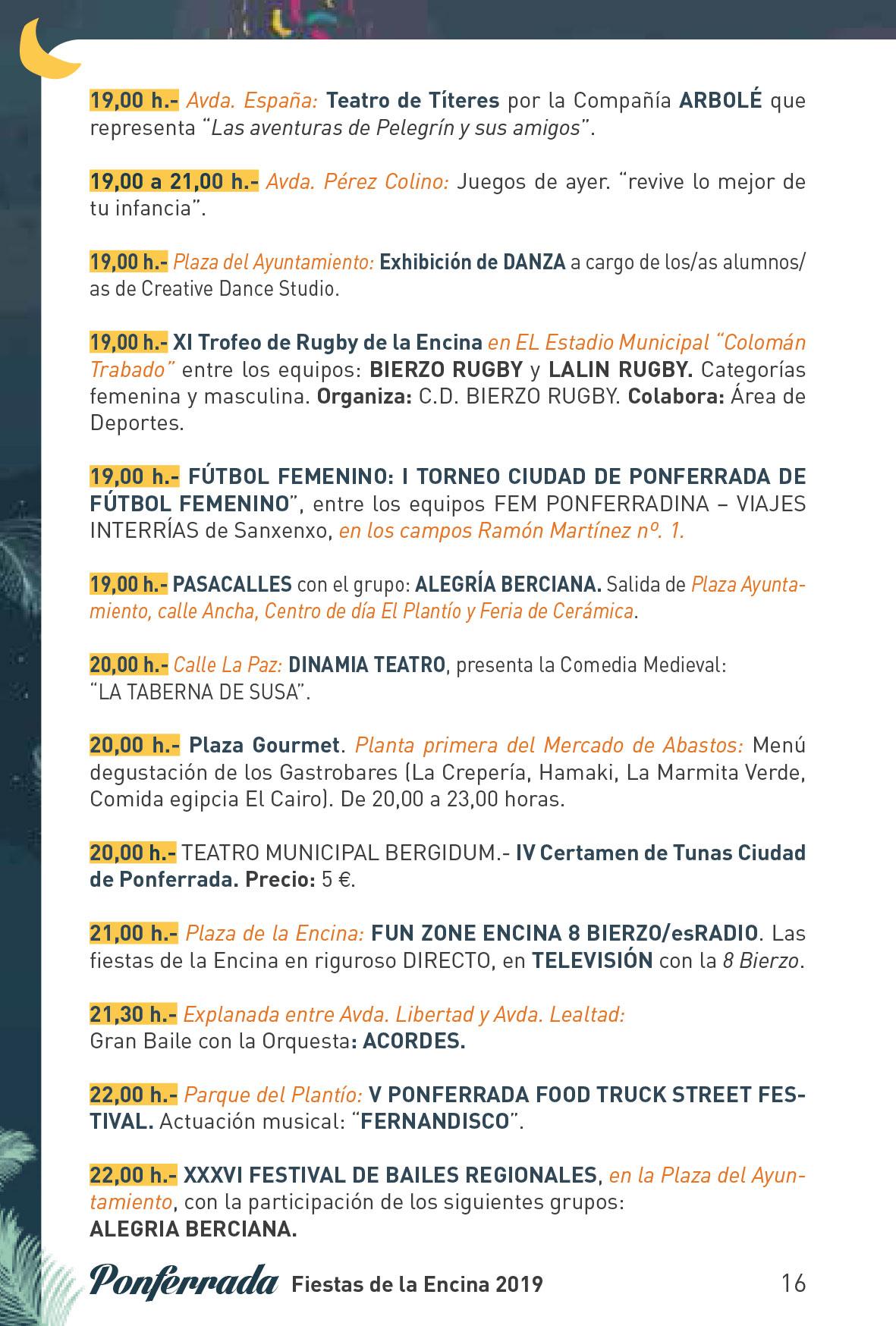Fiestas de la Encina 2019. Programa y actividades 16