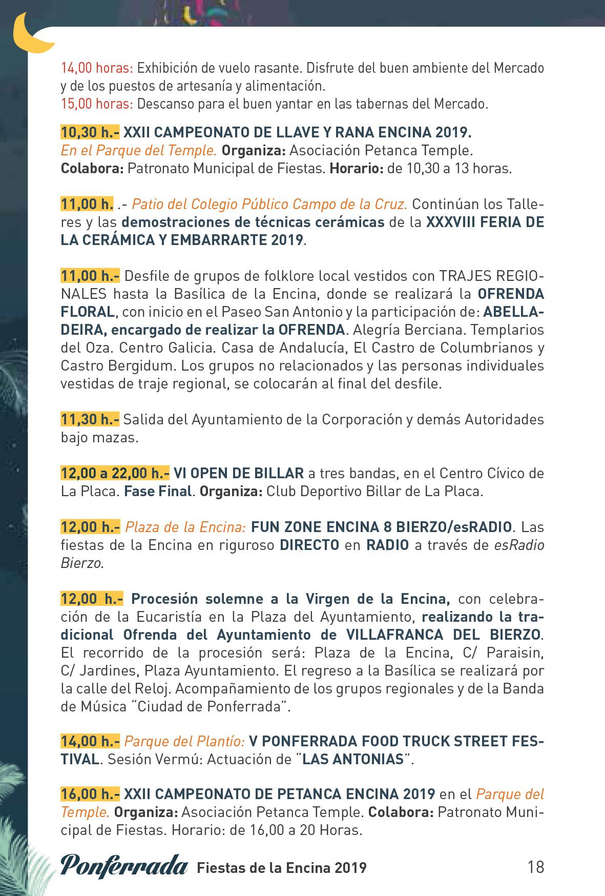 Fiestas de la Encina 2019. Programa y actividades 18