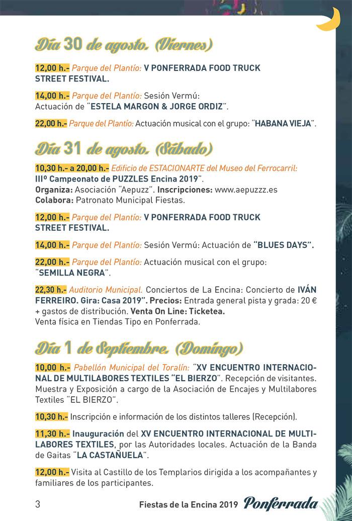 Fiestas de la Encina 2019. Programa y actividades 3