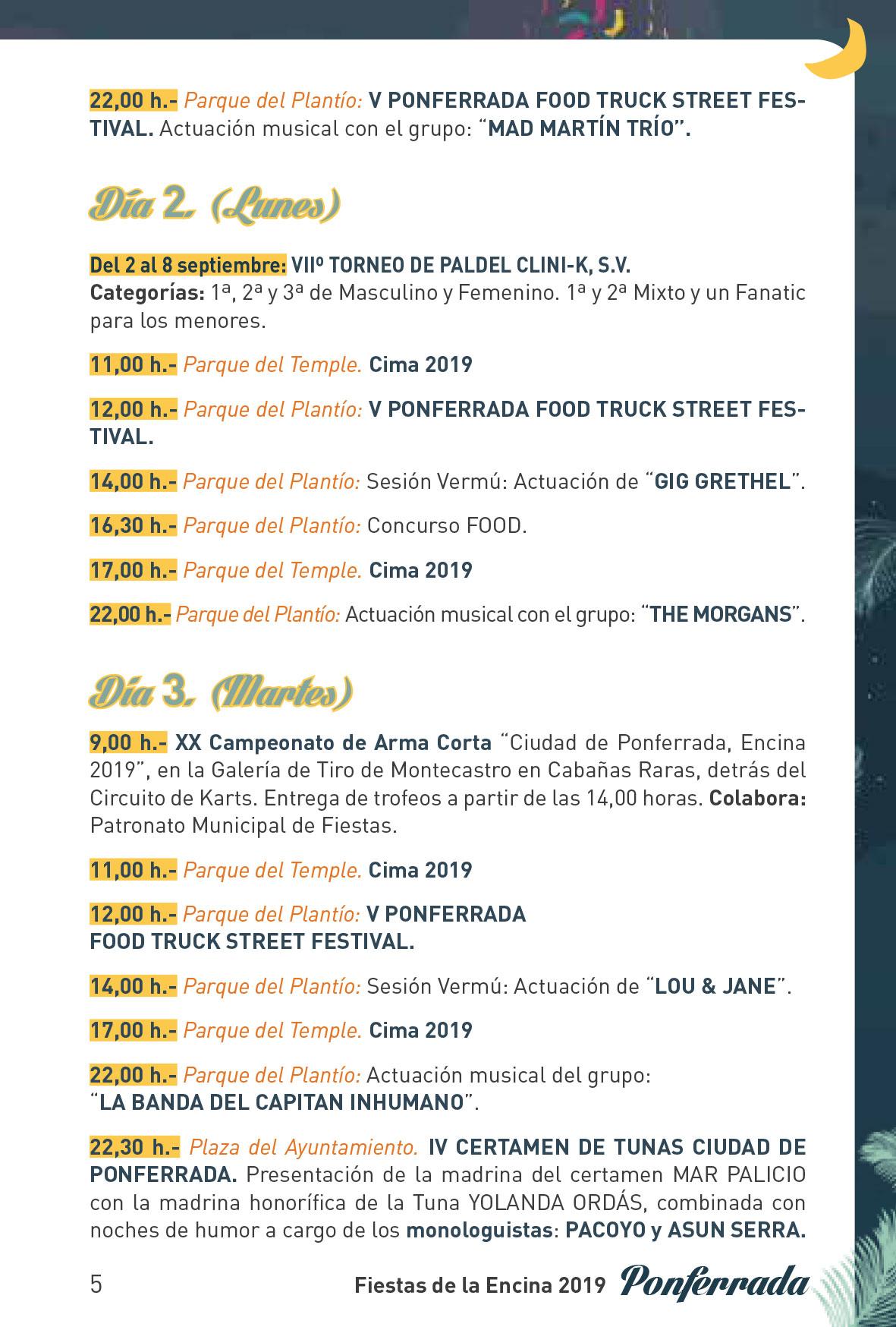 Fiestas de la Encina 2019. Programa y actividades 5