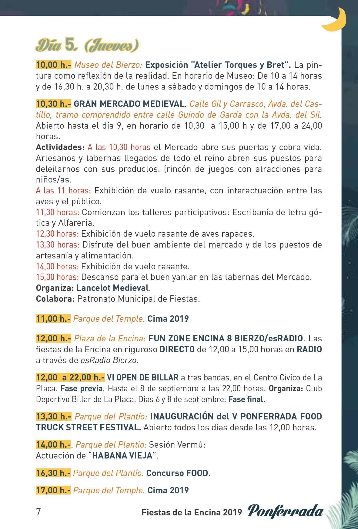 Fiestas de la Encina 2019. Programa y actividades 7