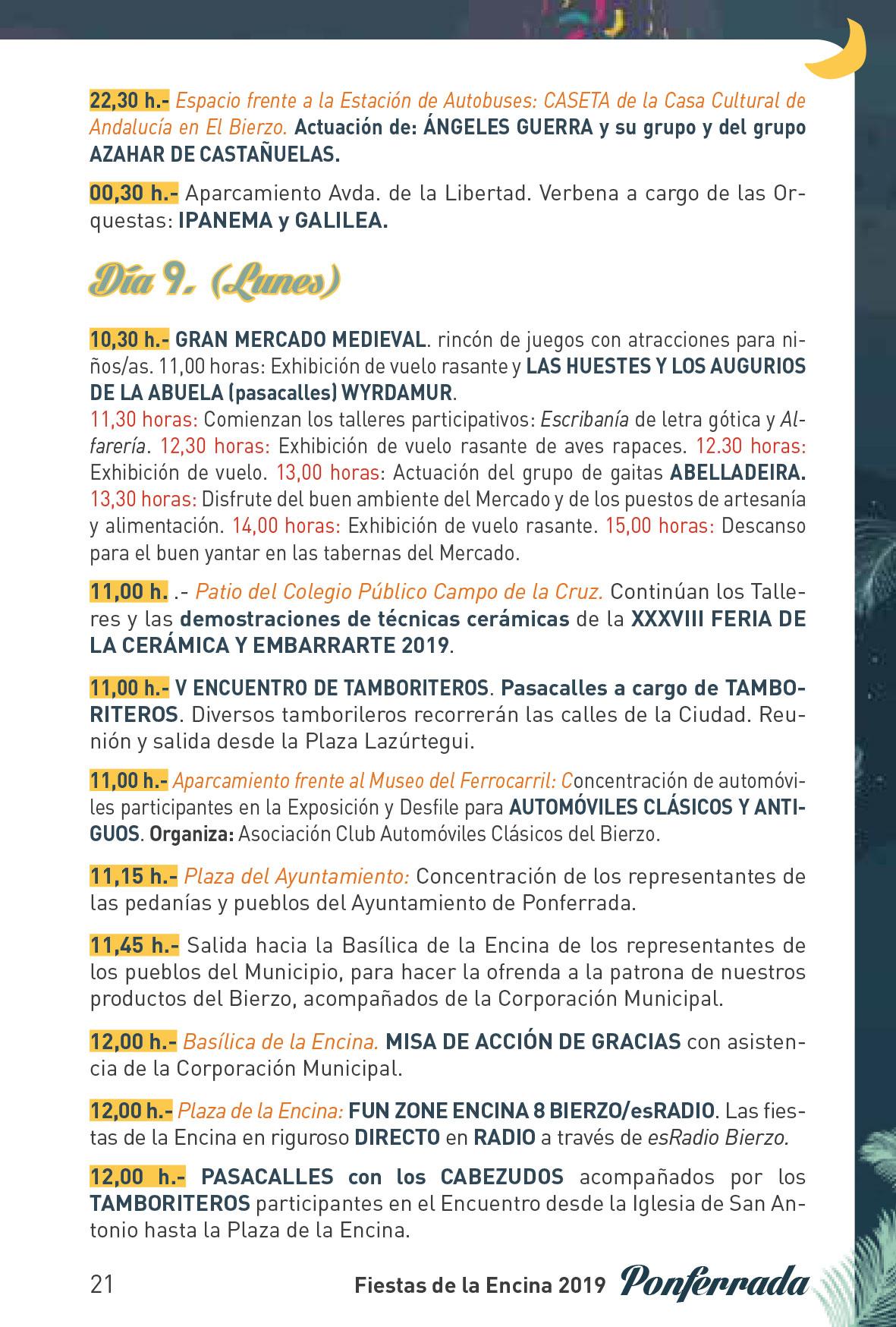 Fiestas de la Encina 2019. Programa y actividades 21