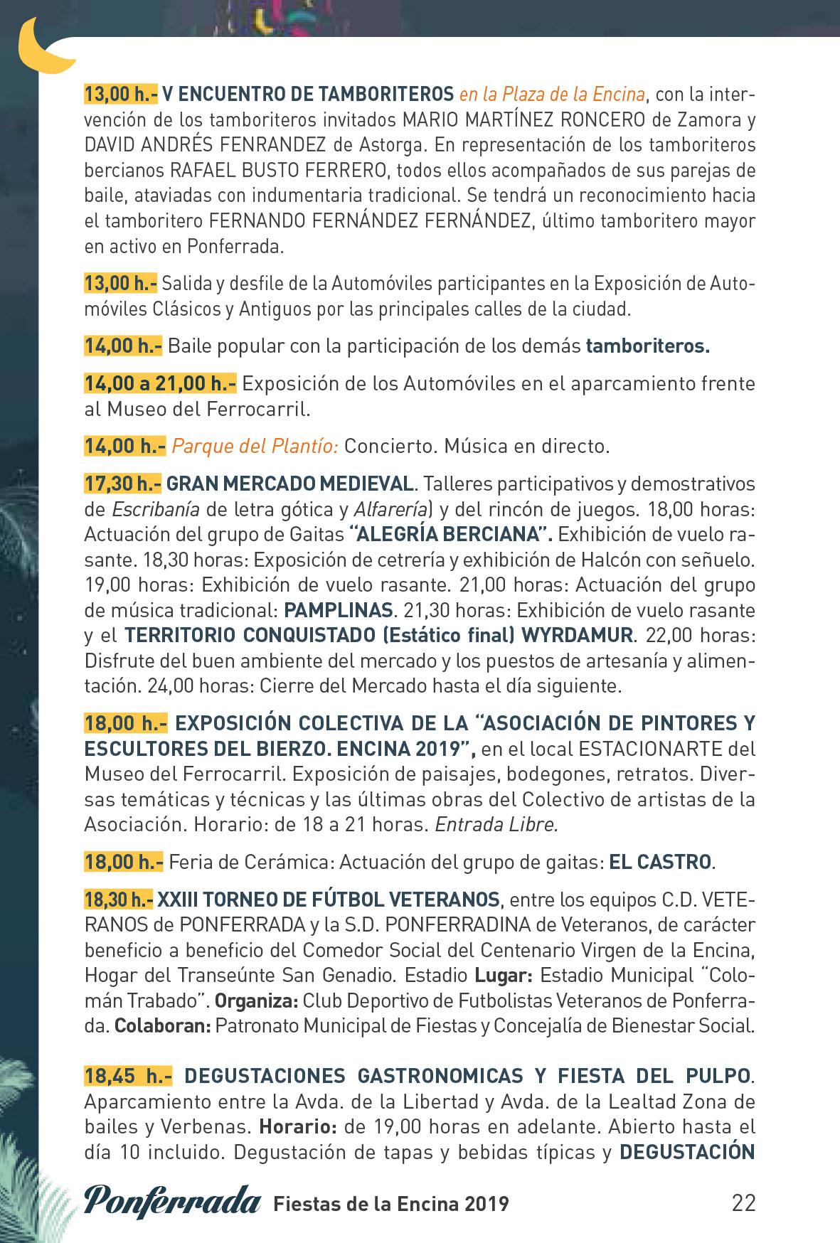 Fiestas de la Encina 2019. Programa y actividades 22
