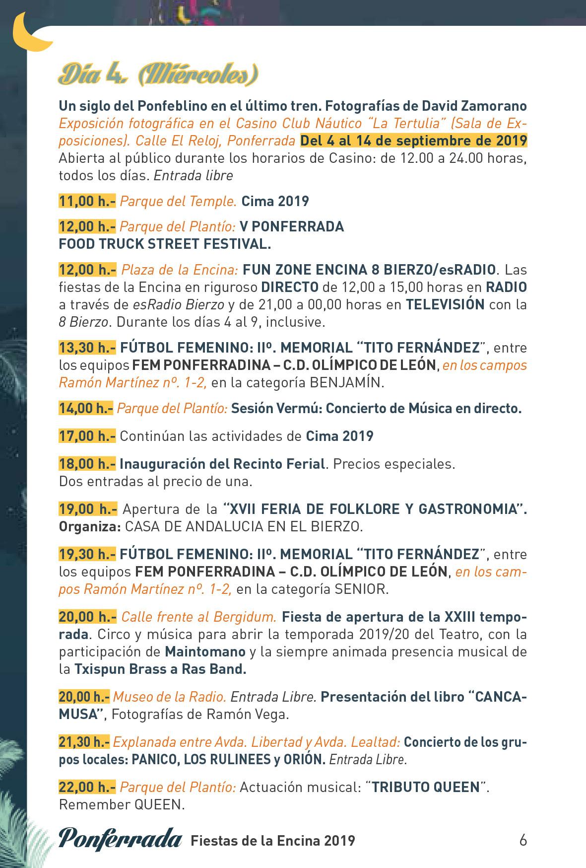 Fiestas de la Encina 2019. Programa y actividades 6
