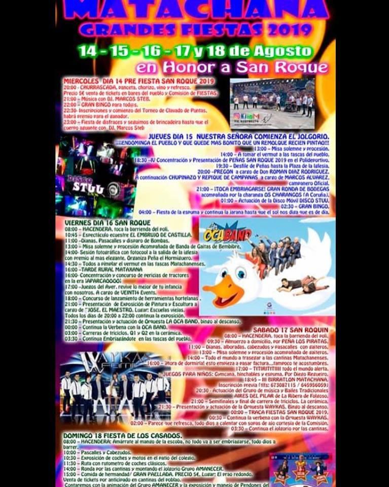 Grandes Fiestas de San Roque en Matachana. 14 al 18 de agosto 2019 2