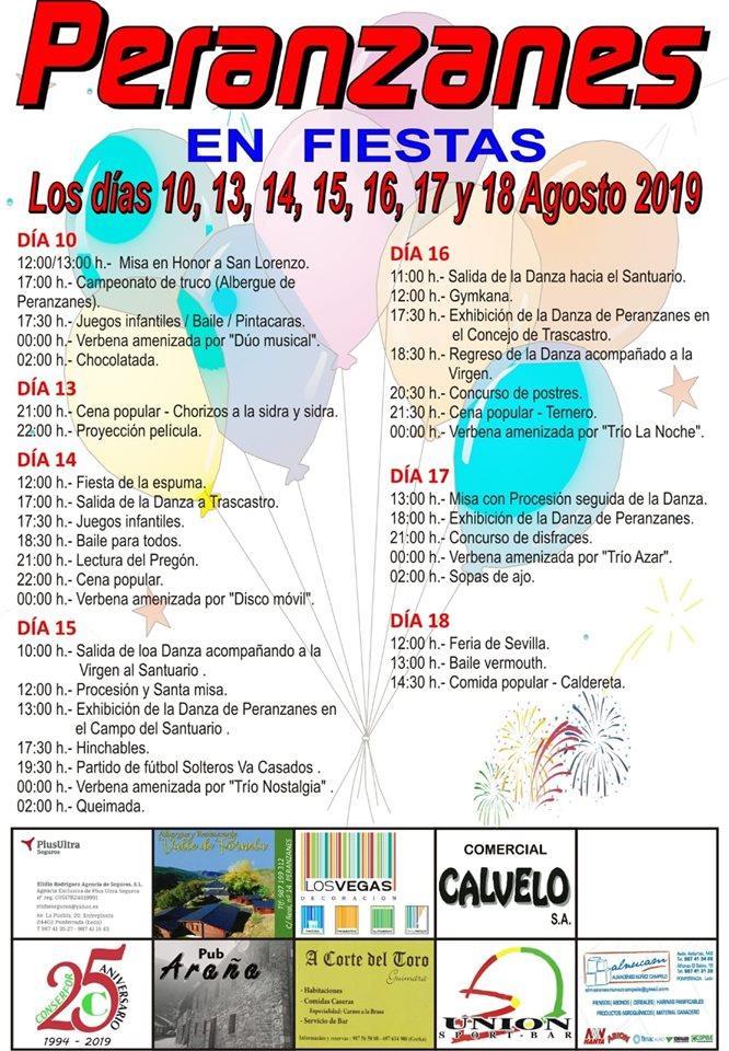 Fiestas en Peranzanes. 10 al 18 de agosto 2019 2