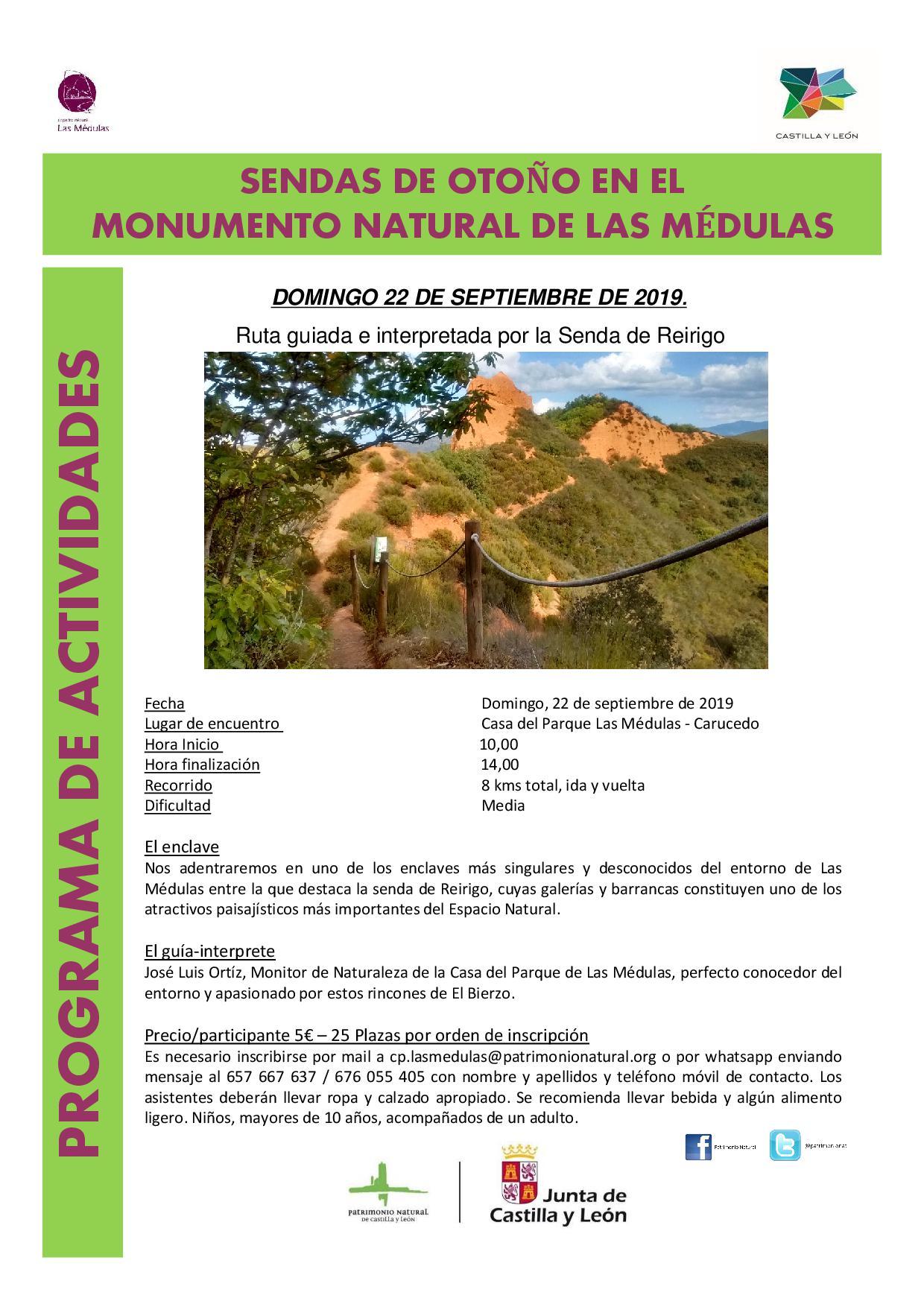 la Casa del Parque de las Médulas organiza este domingo una ruta de otoño por la Senda de Reirigo 2