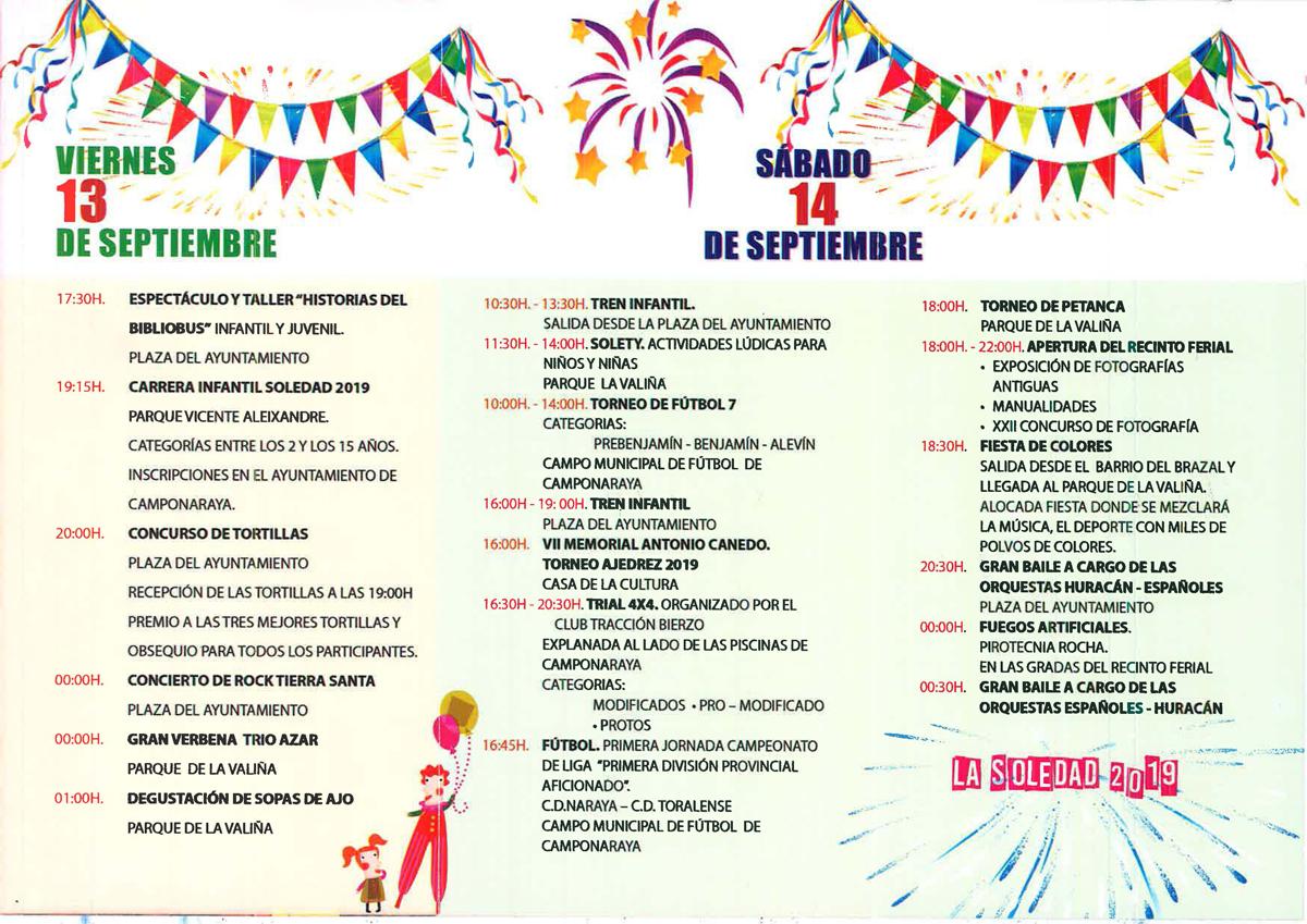 Fiestas de La Soledad 2019 en Camponaraya | Programa de actividades 2