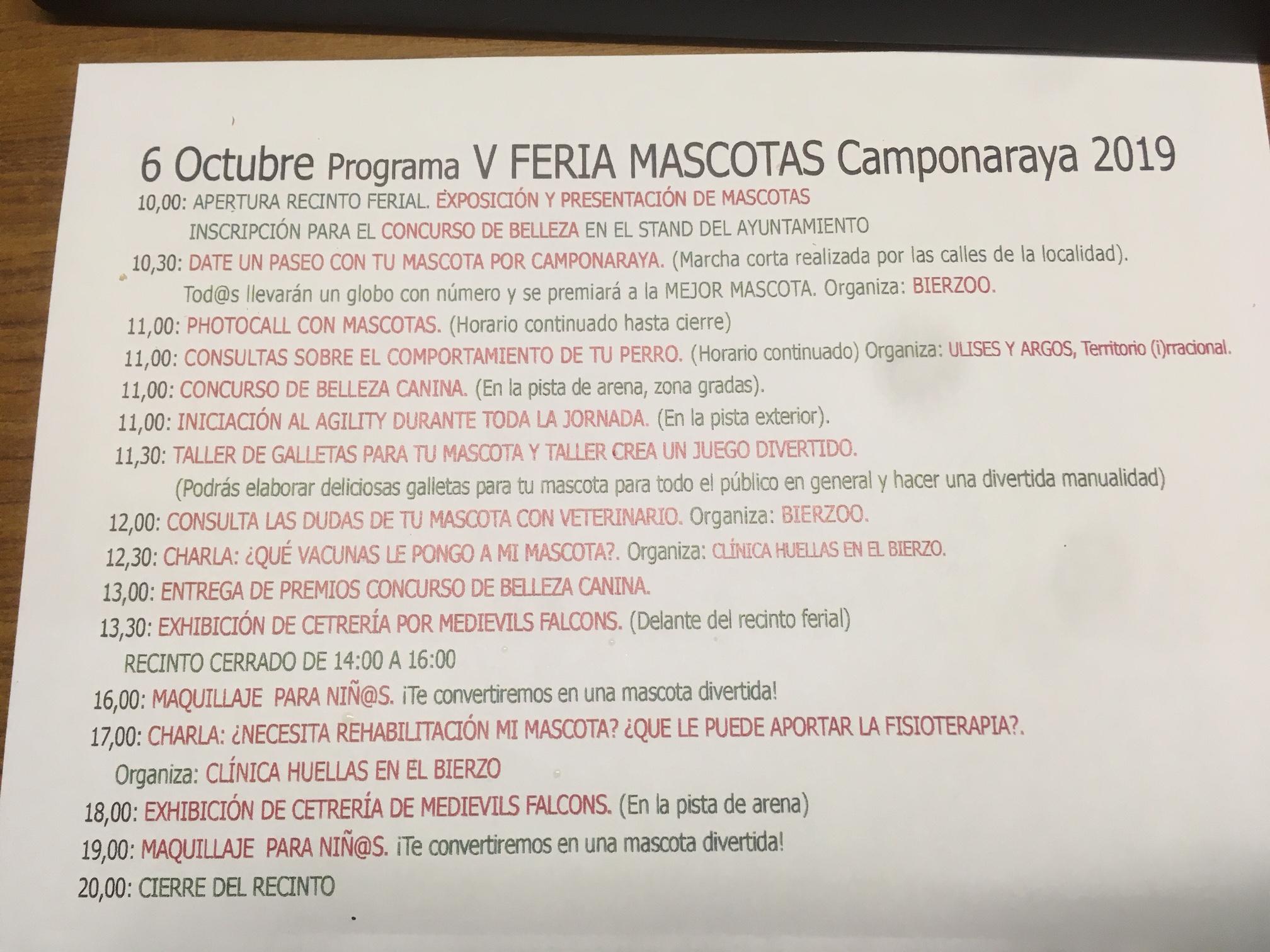 La Feria de las mascotas de Camponaraya  llega a su quinta edición 2