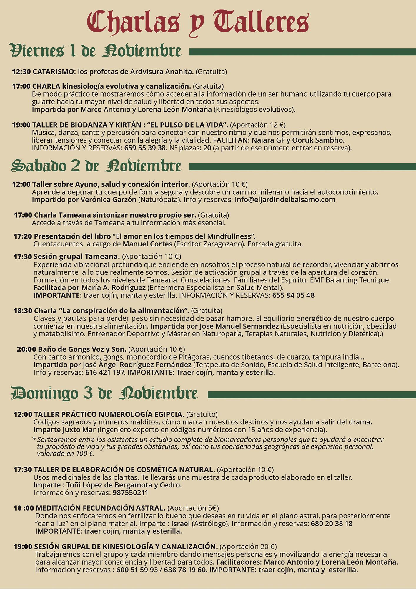 IV Feria de Terapias Complementarias y Arte de Fabero. Actividades y talleres 3