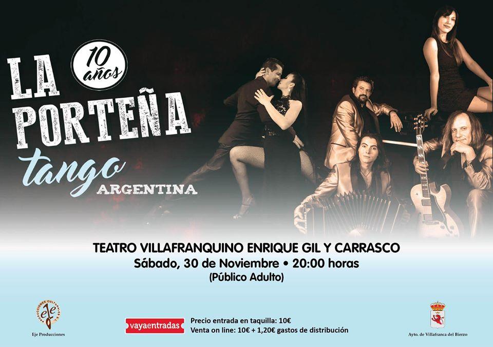 LA PORTEÑA TANGO llega este sábado al Teatro Villafranquino 2