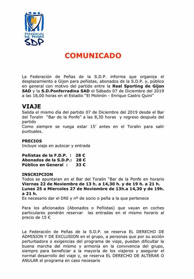 La federación de peñas de la deportiva organiza el viaje para el partido Sporting - Ponferradina 2