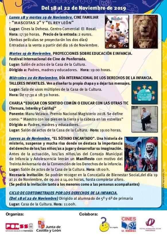 Cine, charlas teatro y documentales en la semana 'Crece Conmigo' organizada por el Ayuntamiento de Ponferrada 2