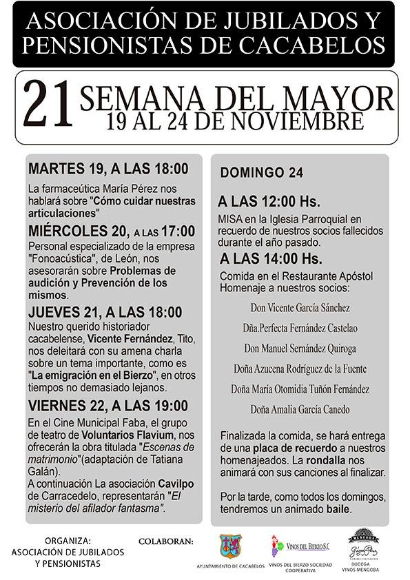 Cacabelos celebra la Semana del Mayor  del 19 al 24 de noviembre 2
