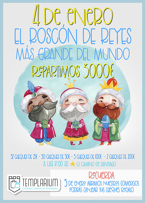 El roscón de Reyes más grande del mundo que reparten el sábado los comercios Templarium contendrá 3.000€ en vales 2
