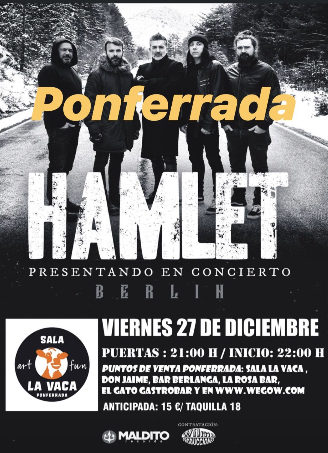Hamlet presenta su disco 'Berlín' este viernes en La Vaca 2
