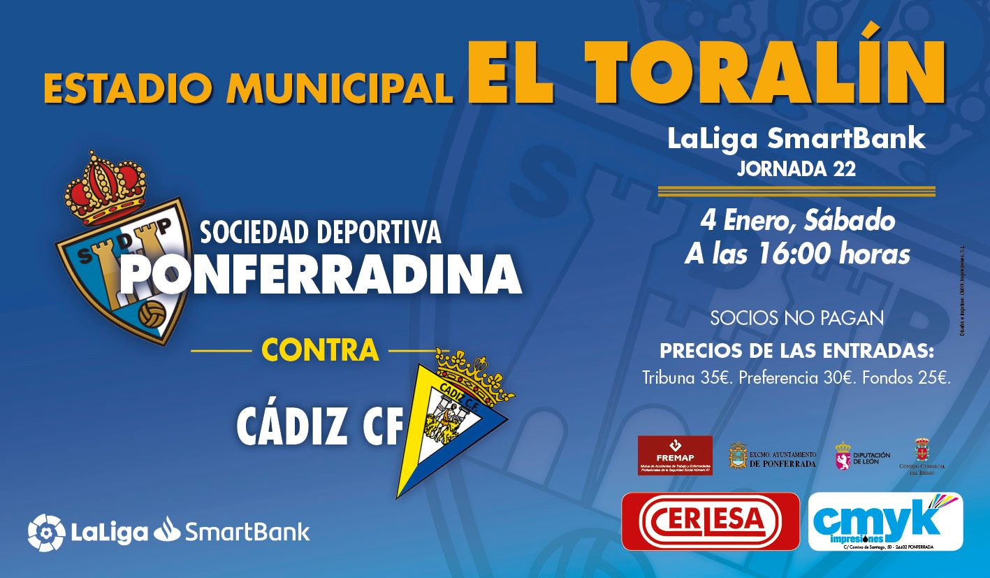 La Liga vuelve a el Toralín el 4 de enero con el partido Ponferradina - Cádiz 2