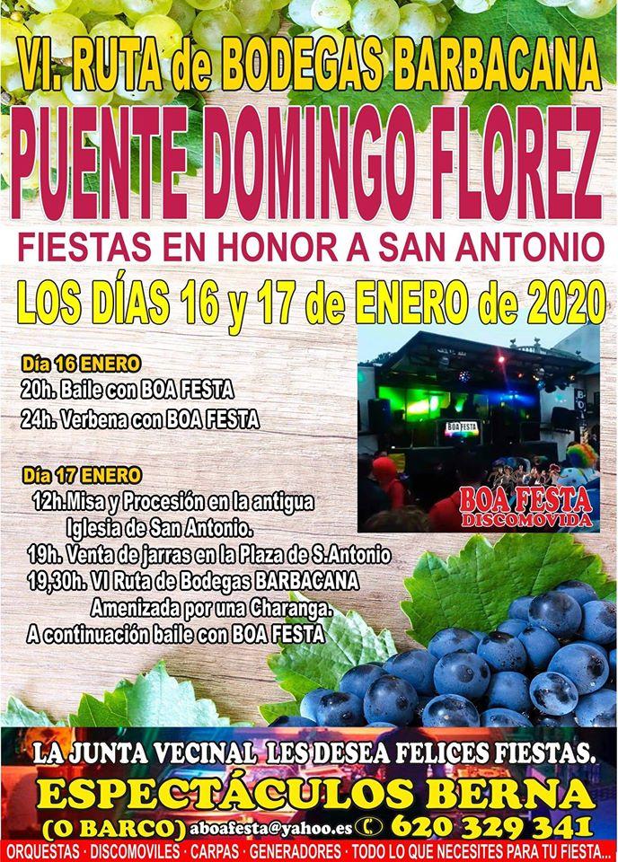 Puente Domingo Flórez celebra San Antonio los días 16 y 17 de enero 2