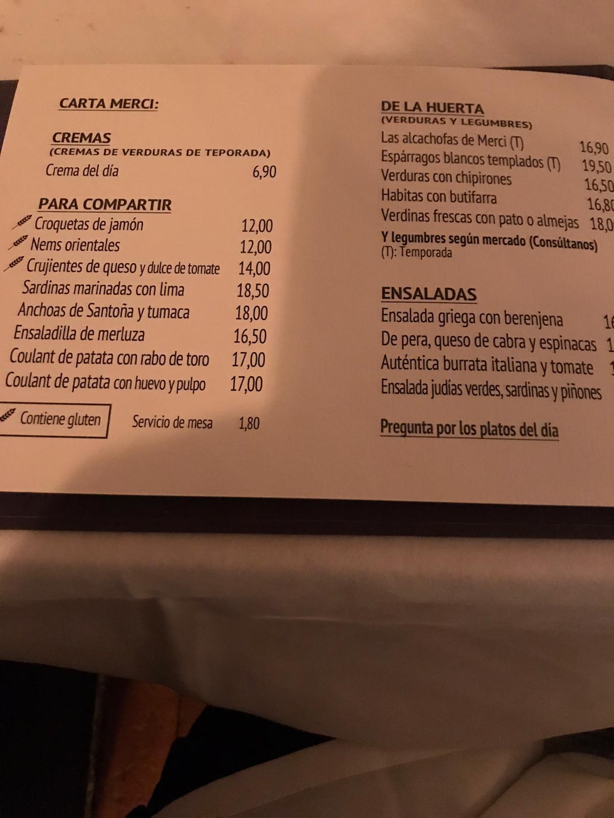 Reseñas Gastronómicas: Restaurante MERCI de Madrid 5