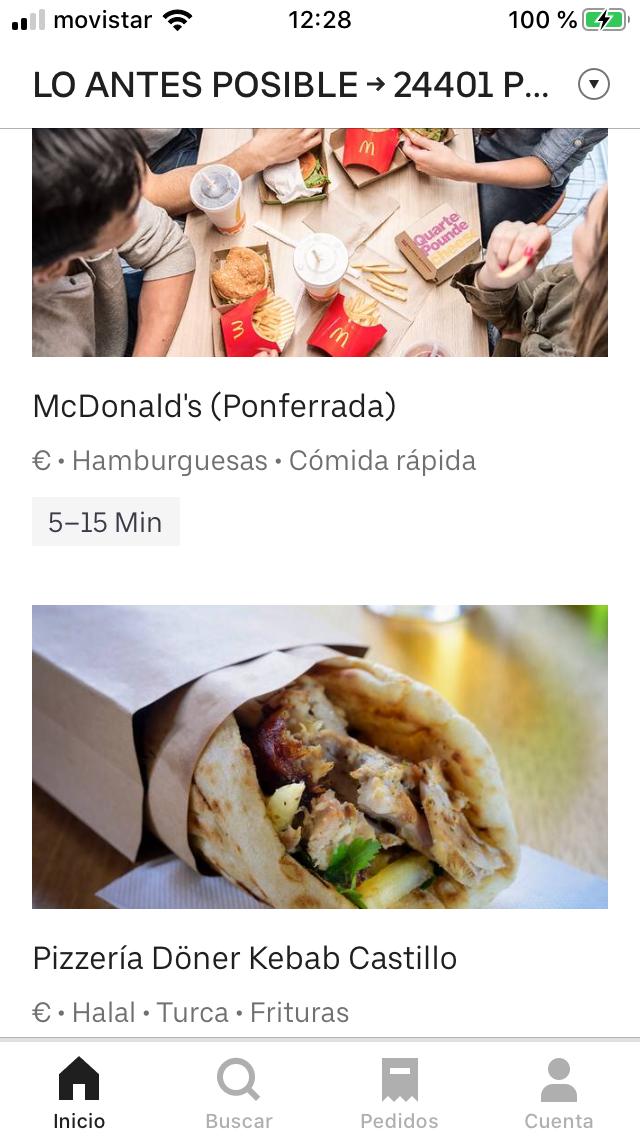 Ahora tu comida a Domicilio en Ponferrada te puede llegar por Uber Eats 2