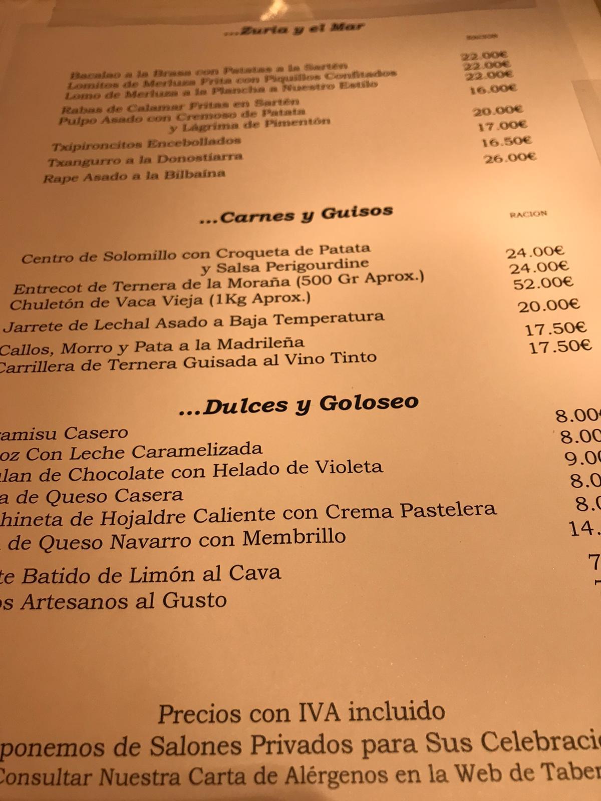 Reseña Gastronómica: Restaurante Taberna Zuria de Madrid 4