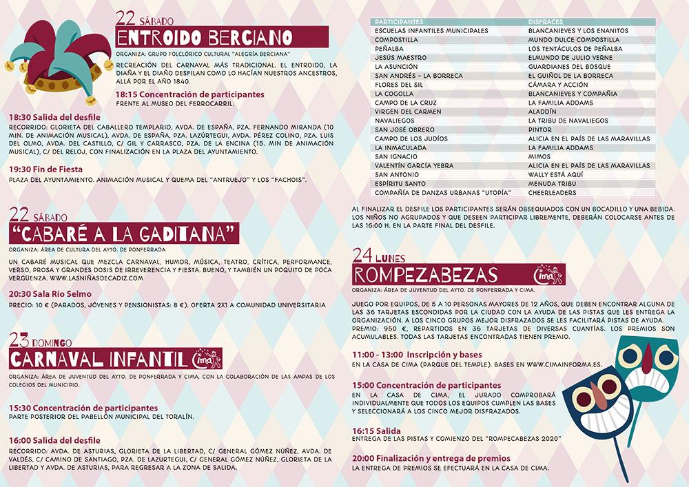 Carnaval en Ponferrada 2020. Programa de actividades 3