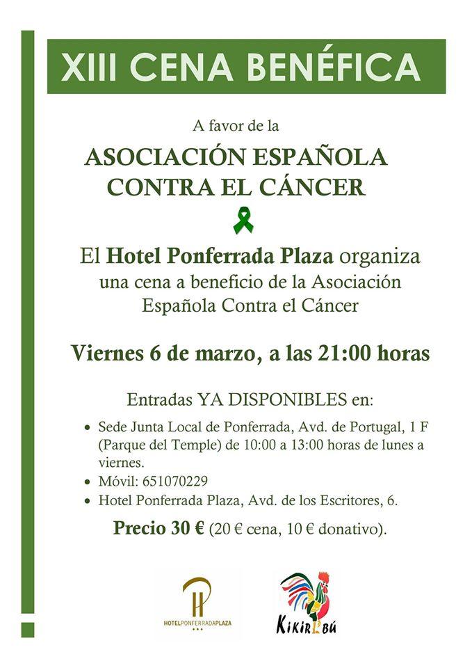 La Asociación Española contra el Cáncer de León organiza el viernes su XIII Cena benéfica 2