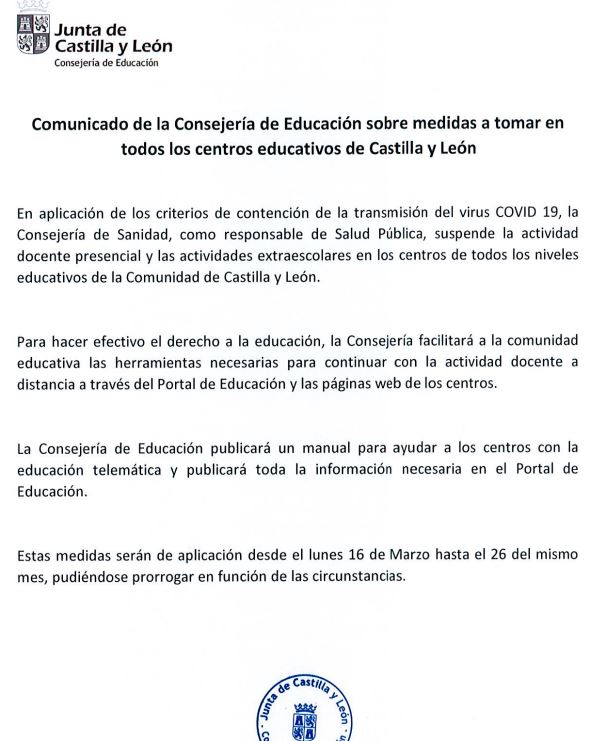 La junta de Castilla y León decreta el cierre de los centros educativos inicialmente desde el lunes 16 al jueves 26 de marzo 2
