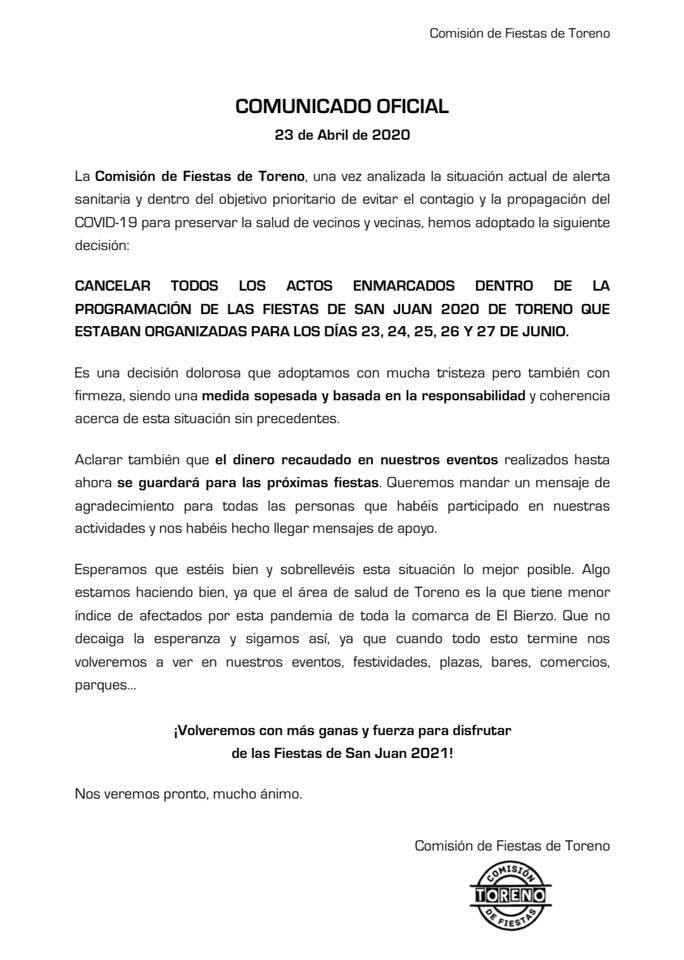 La Comisión de fiestas de Toreno anuncia la cancelación de San Juan 2020 2
